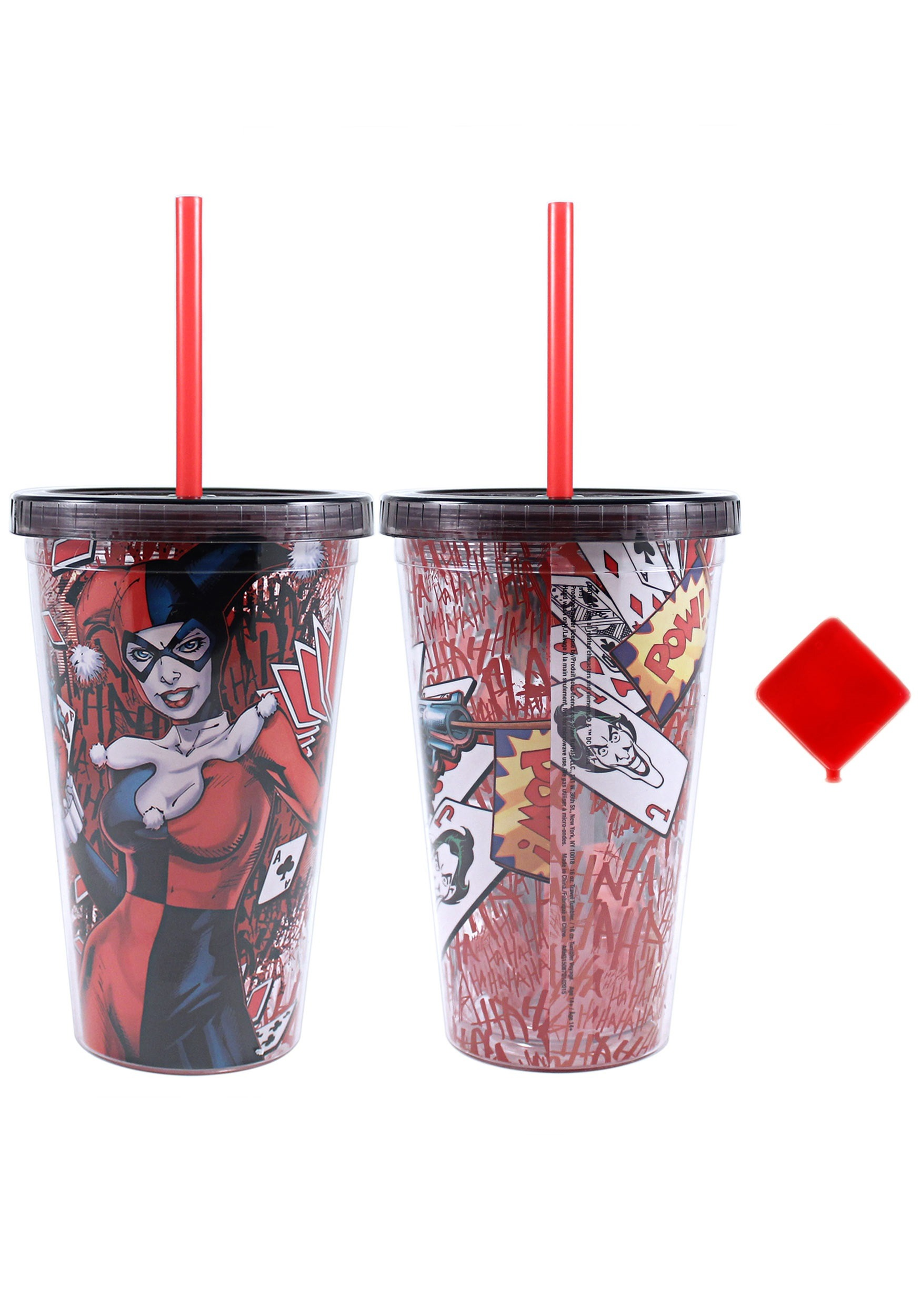Harley Quinn 16 oz Plastic Cold Cup w Ice Cubes SBHQ15087Q