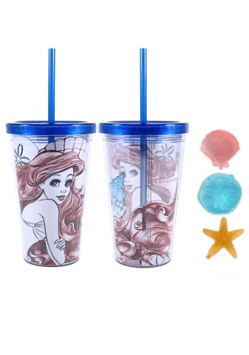 Little Mermaid Ariel 16 oz Plastic Cold Cup w Ice Cubes SBDP78087Q