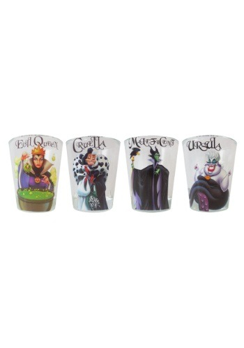 Disney Villains 4pc 1.5oz Clear Shot Glass Set