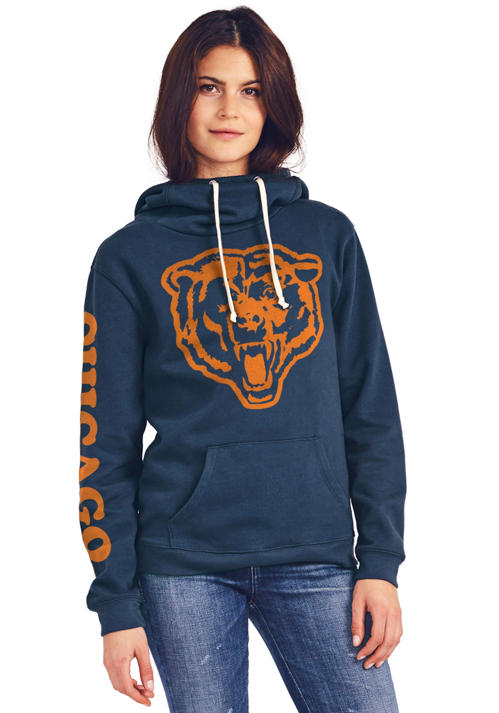 Nice Chicago Bears Women's Cowl Neck Hooded Sweatshirt