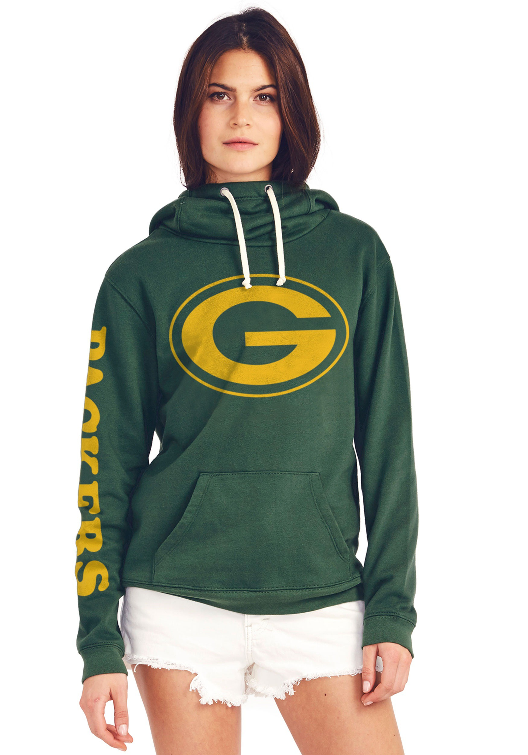 release date bdcbf aeaa3 Green Bay Packers Women's Cowl Neck Hooded Sweatshirt