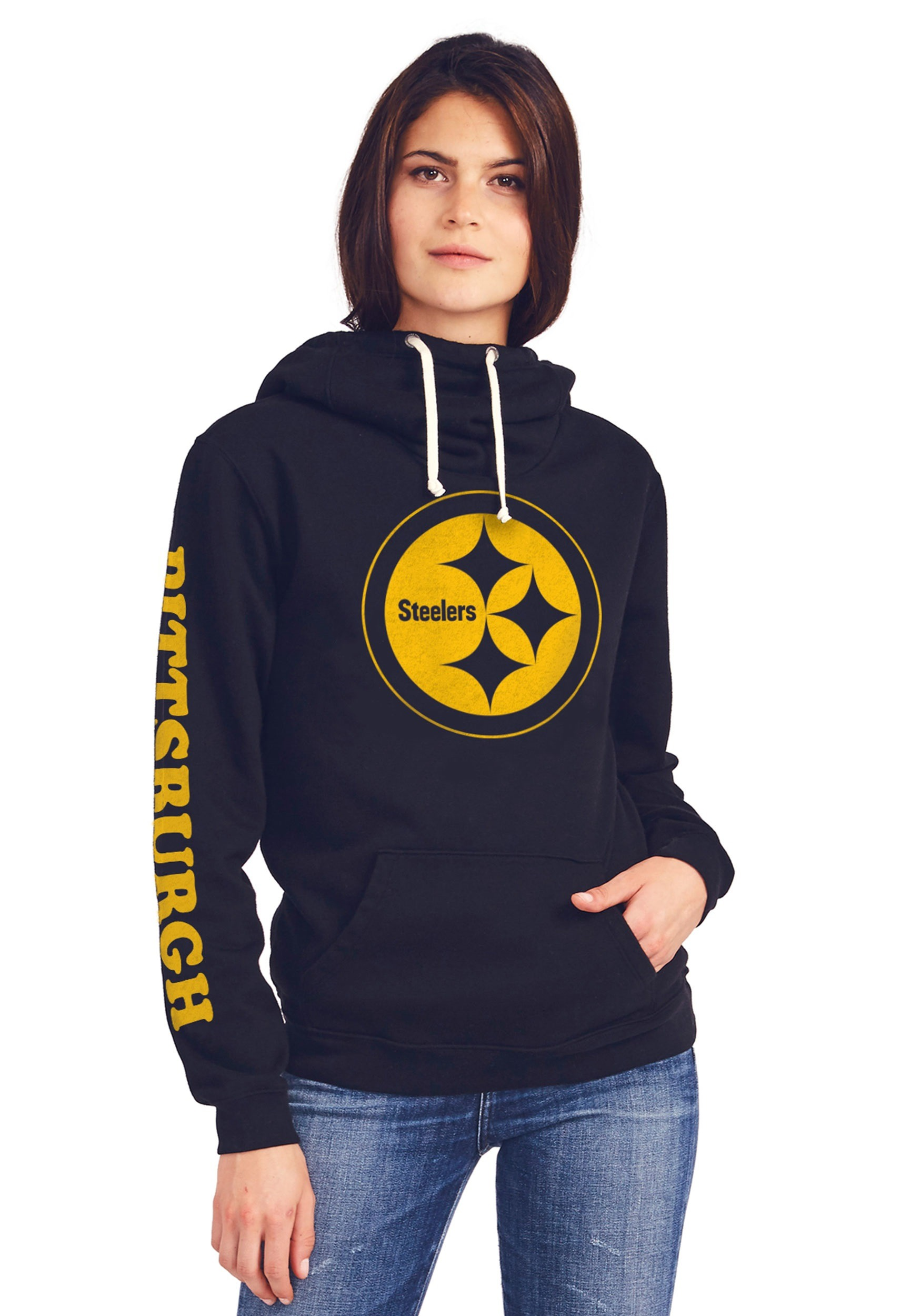 Pittsburgh Steelers Women's Cowl Neck Hooded Sweatshirt