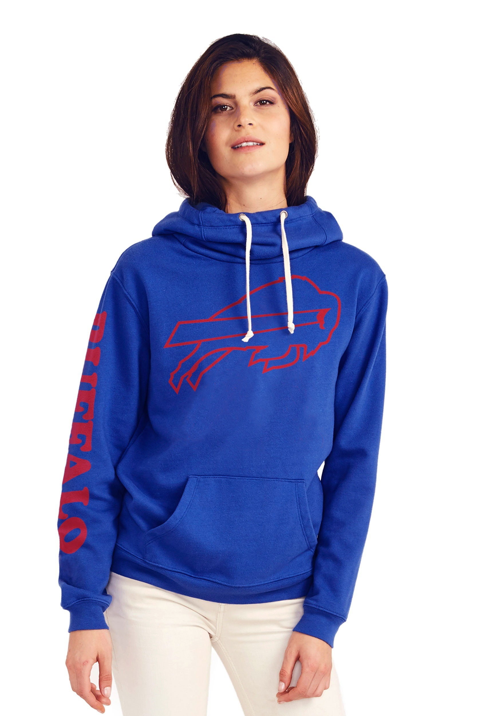dfe01531 Buffalo Bills Women's Cowl Neck Hooded Sweatshirt