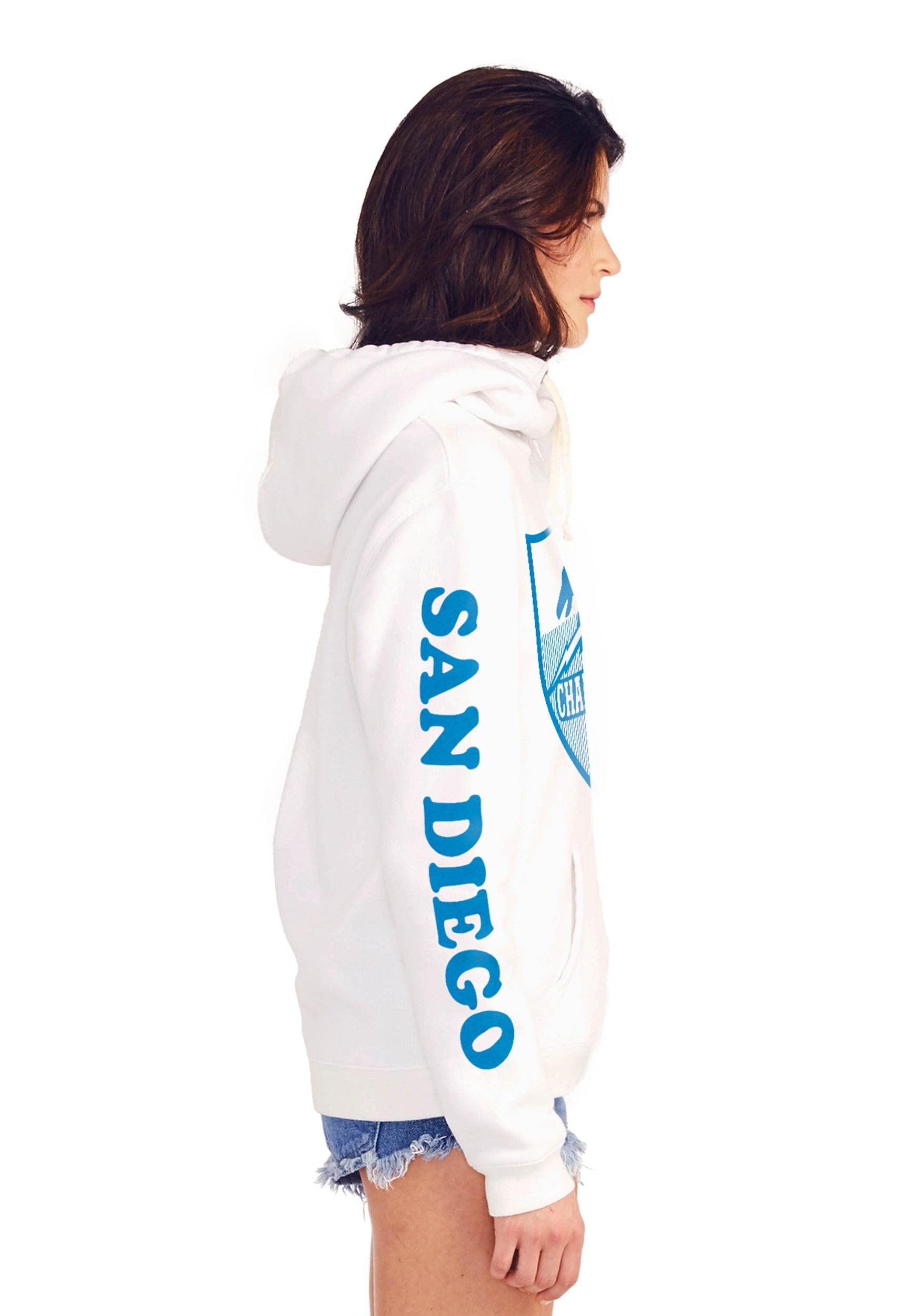 San Diego Chargers Women S Cowl Neck Hooded Sweatshirt