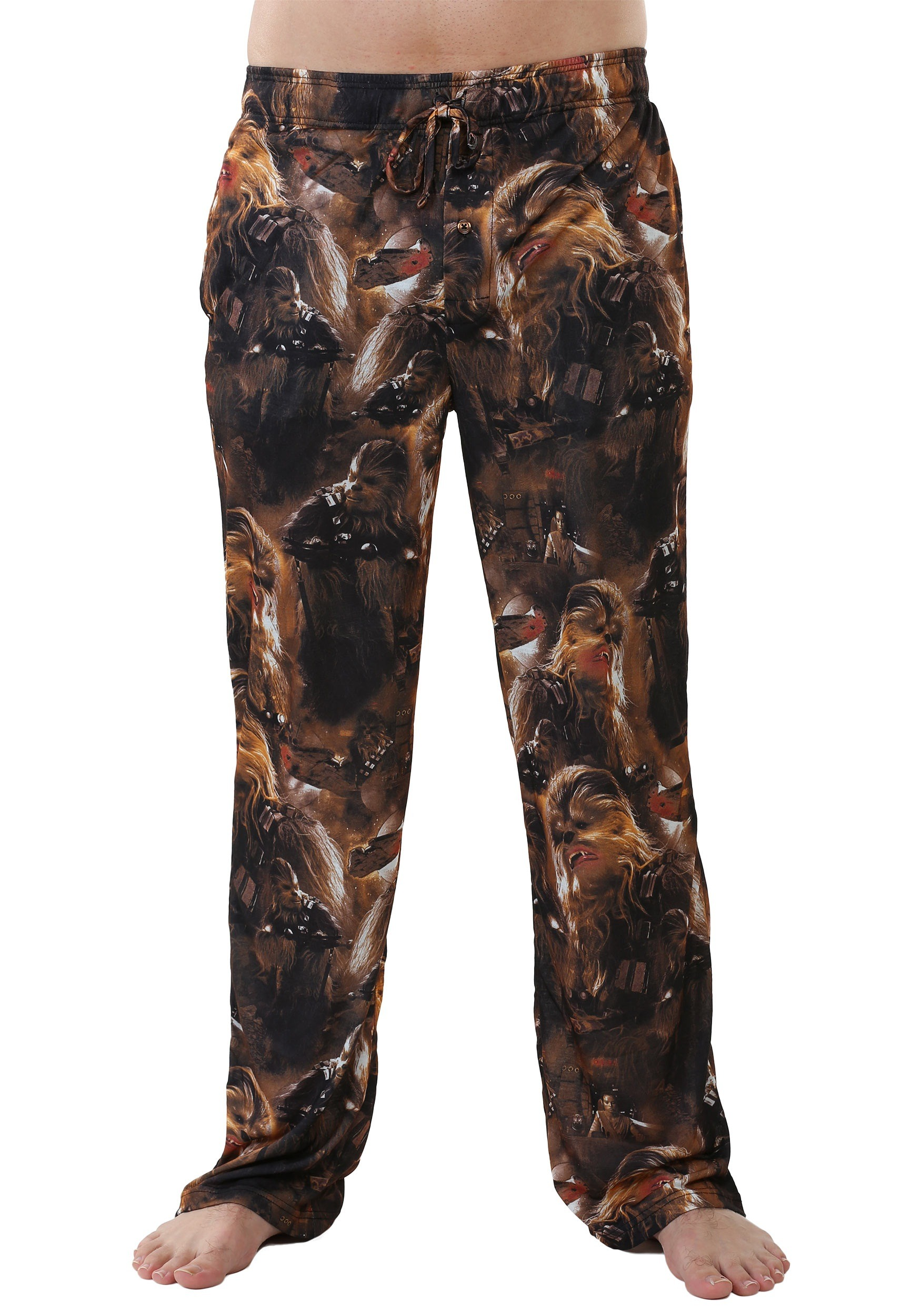 men's star wars lounge pants with chewie faces print