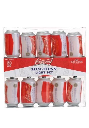 Set of 10 New Budweiser Can Holiday Light Set