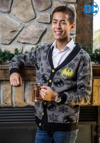 Men's Snowflake Batman Black Cardigan