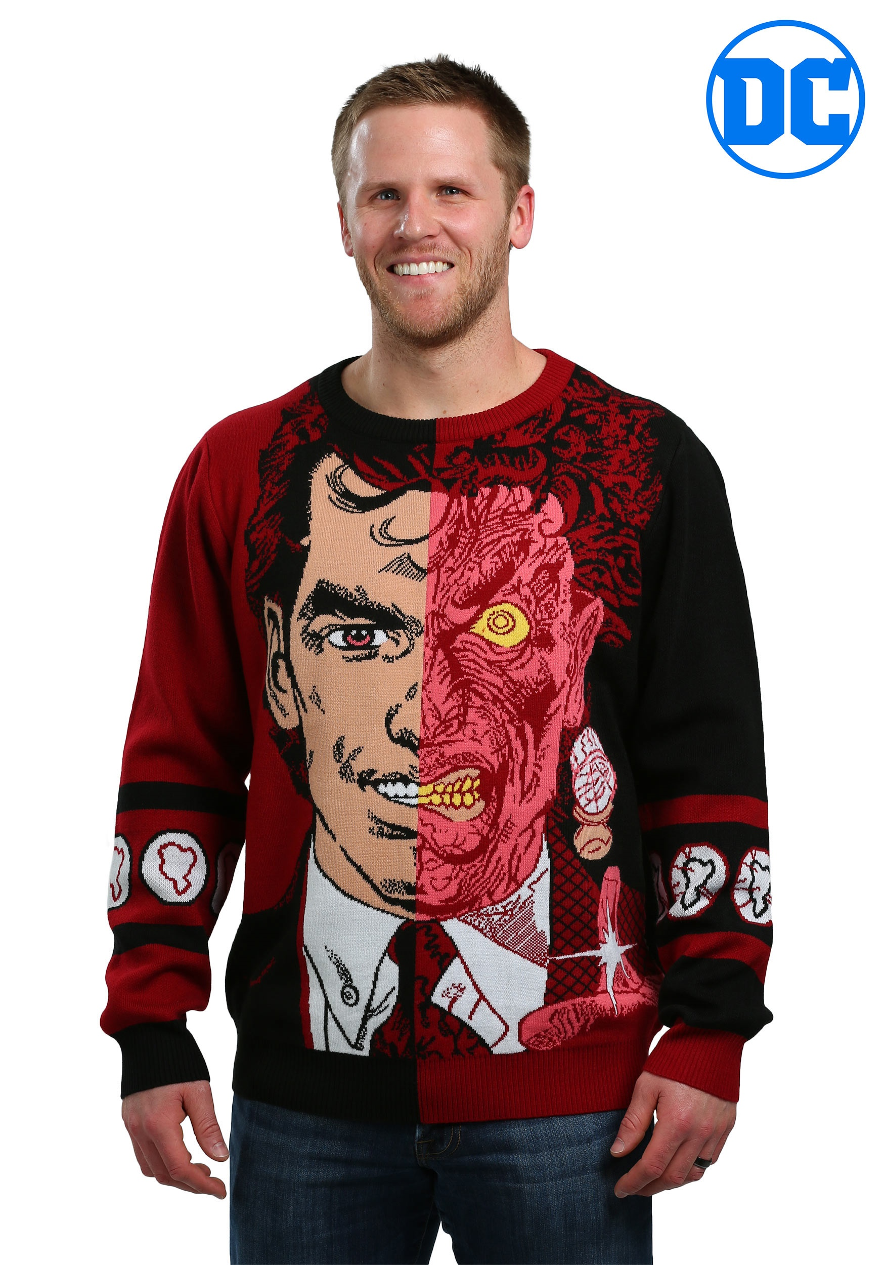 Dc Christmas Sweater.Two Face Pullover Ugly Christmas Sweater