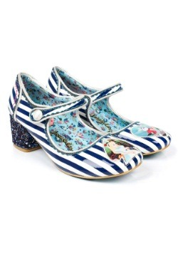 Alice In Wonderland Tick Tock Blue Stripe Mary Jane Heels
