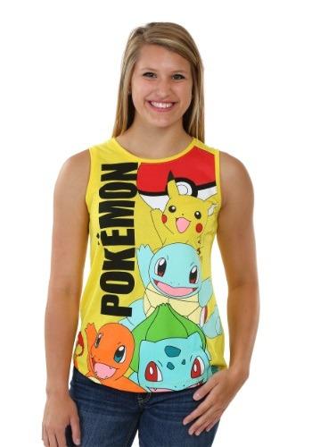 Pokemon Panel Print Juniors Muscle Tank