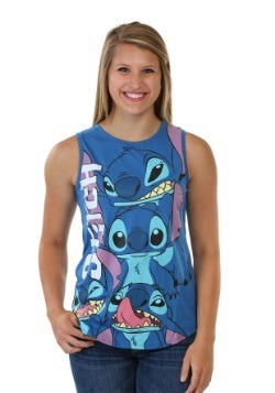 Stitch Panel Print Juniors Muscle Tank
