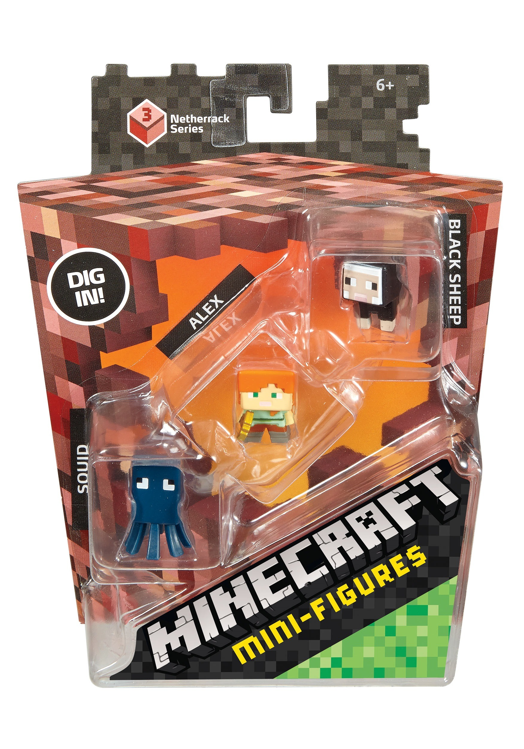 Minecraft Mini Figure 3 Pack (Squid, Alex, Black Sheep) MLCKH40