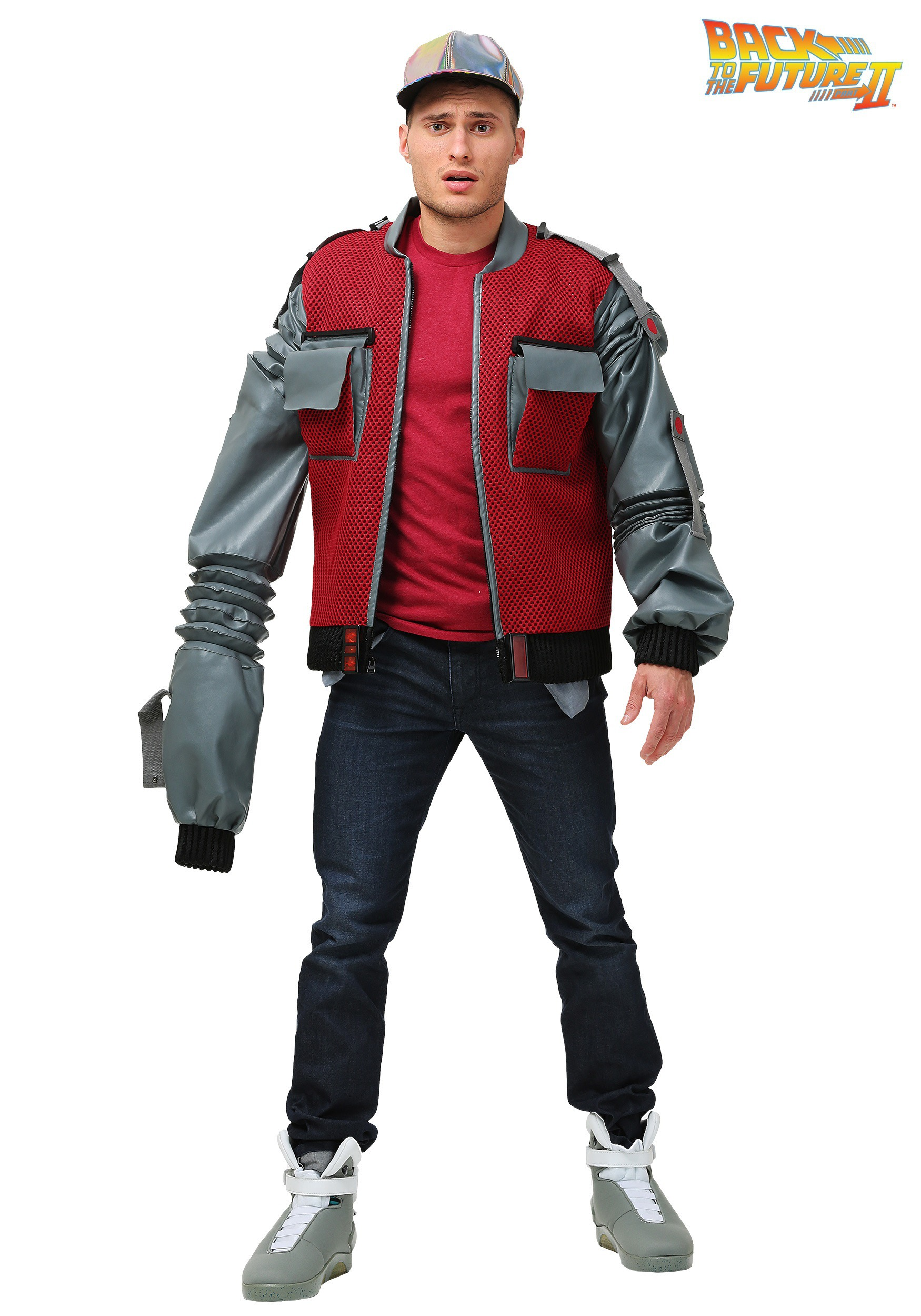 men's plus size authentic marty mcfly jacket costume from back to
