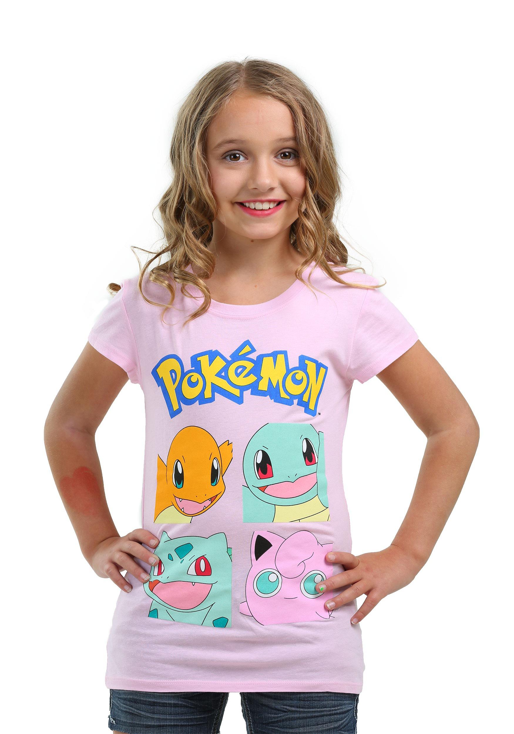 pokemon group squares tshirt for girls