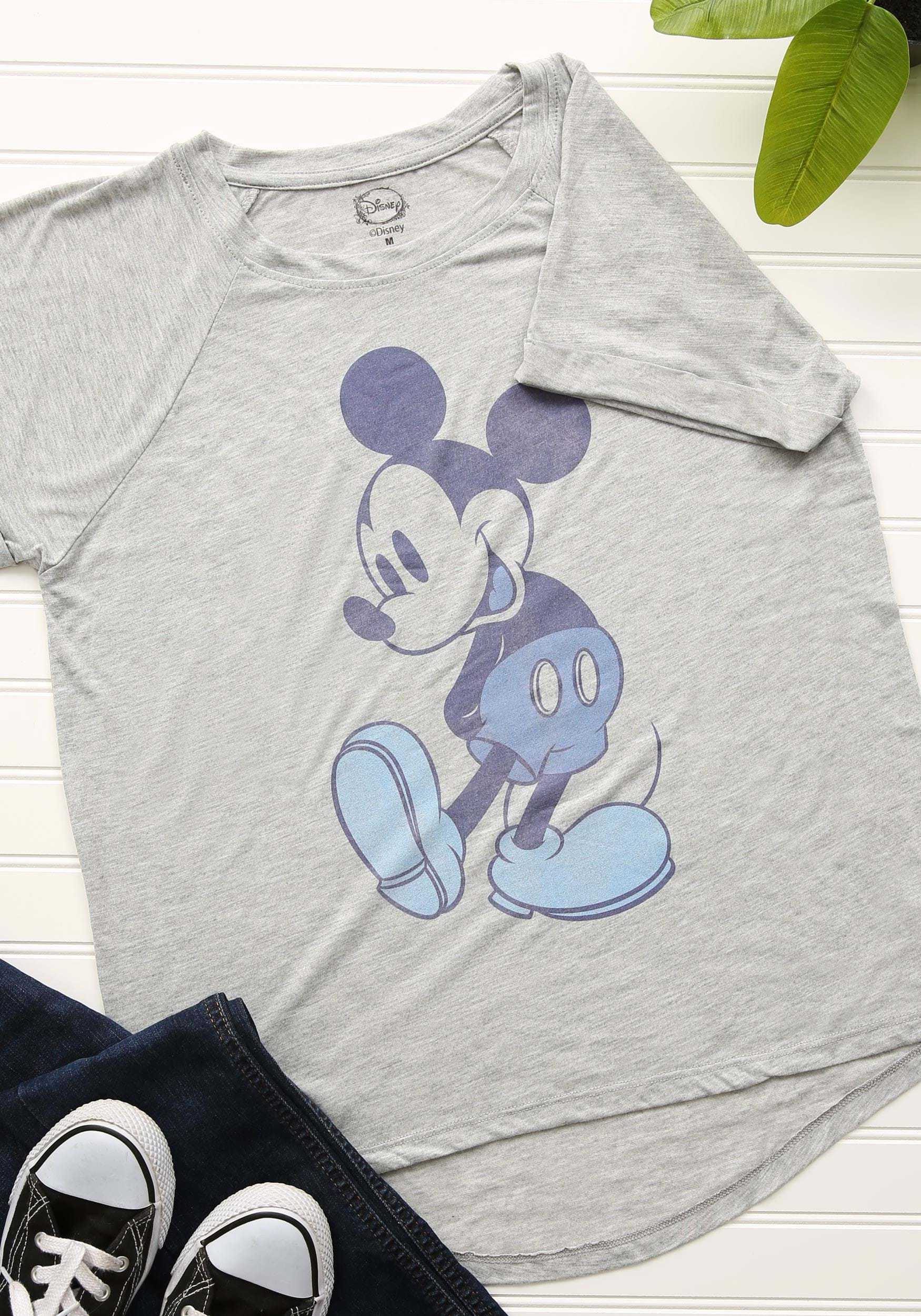 6bd6e45b Mickey Mouse Blue Tones Juniors Hi Low Roll Sleeve T-Shirt