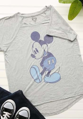 Mickey Mouse Blue Tones Juniors Hi Low Roll Sleeve Tee-updat