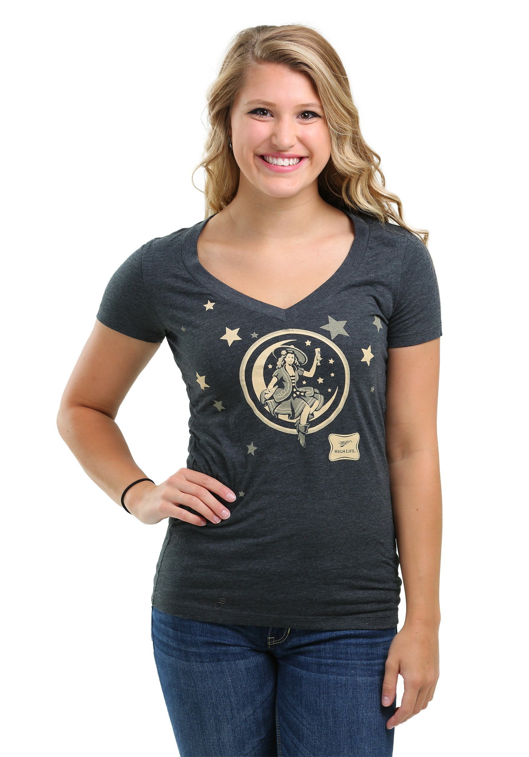 Miller high life moon girl v neck t shirt for women for High neck tee shirts
