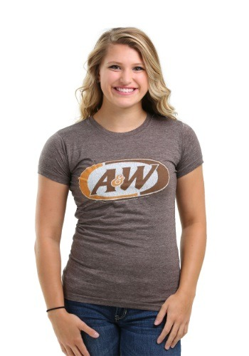 A&W Logo Juniors Heathered Brown Tee