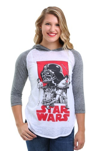 Star Wars Group Shot Juniors Hooded Raglan Shirt