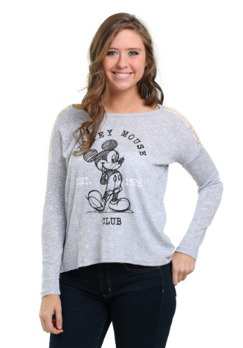 Mickey Mouse Hacci Crochet Juniors Hi Low Sweatshirt