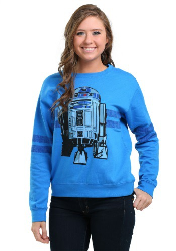 Star Wars R2D2 Stripe Sleeve Juniors Crew Sweatshirt