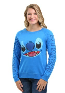Stitch Big Face Sleeve Print Juniors Crew Sweatshirt