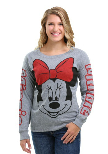 Minnie Mouse Big Face Print Juniors Sweatshirt for Juniors FZIESJM44-L