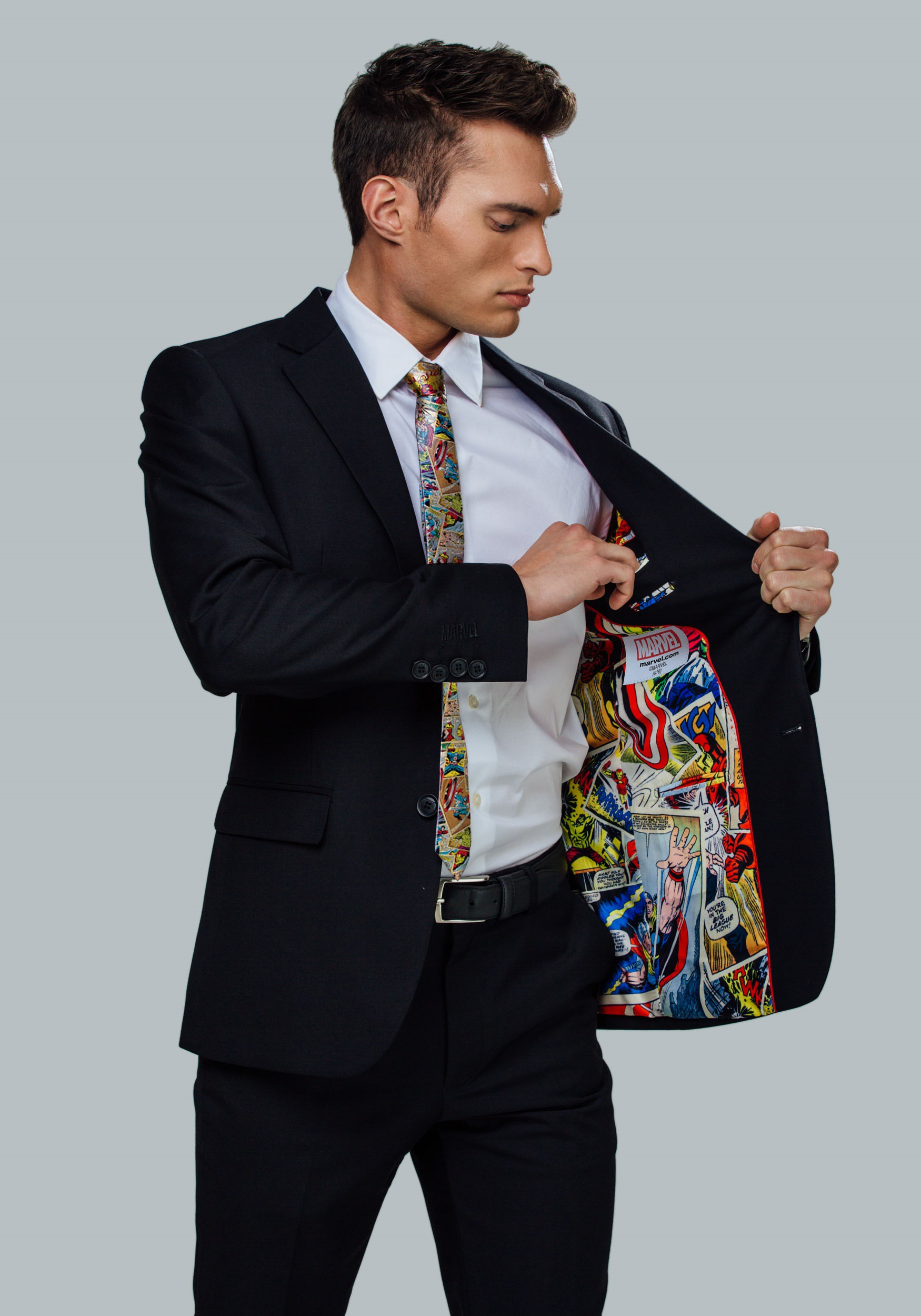 bb8222cf950 Secret Identity Marvel Comic Strip Slim Fit Suit Jacket for Men