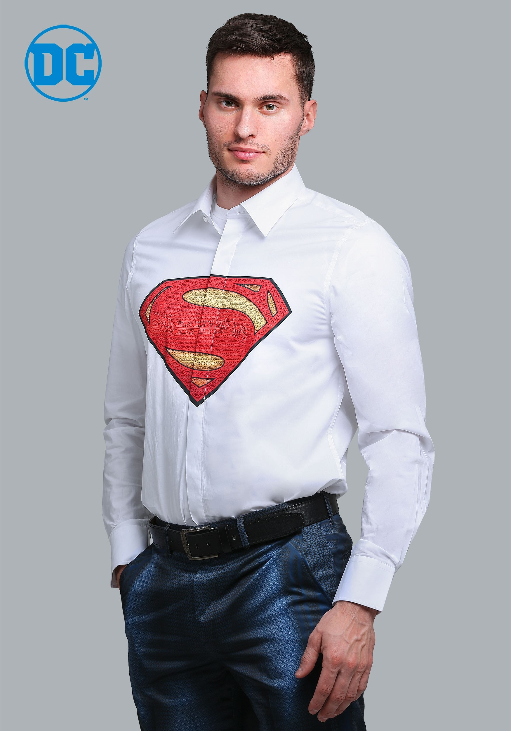 Superman Slim Fit Dress Shirt Alter Ego