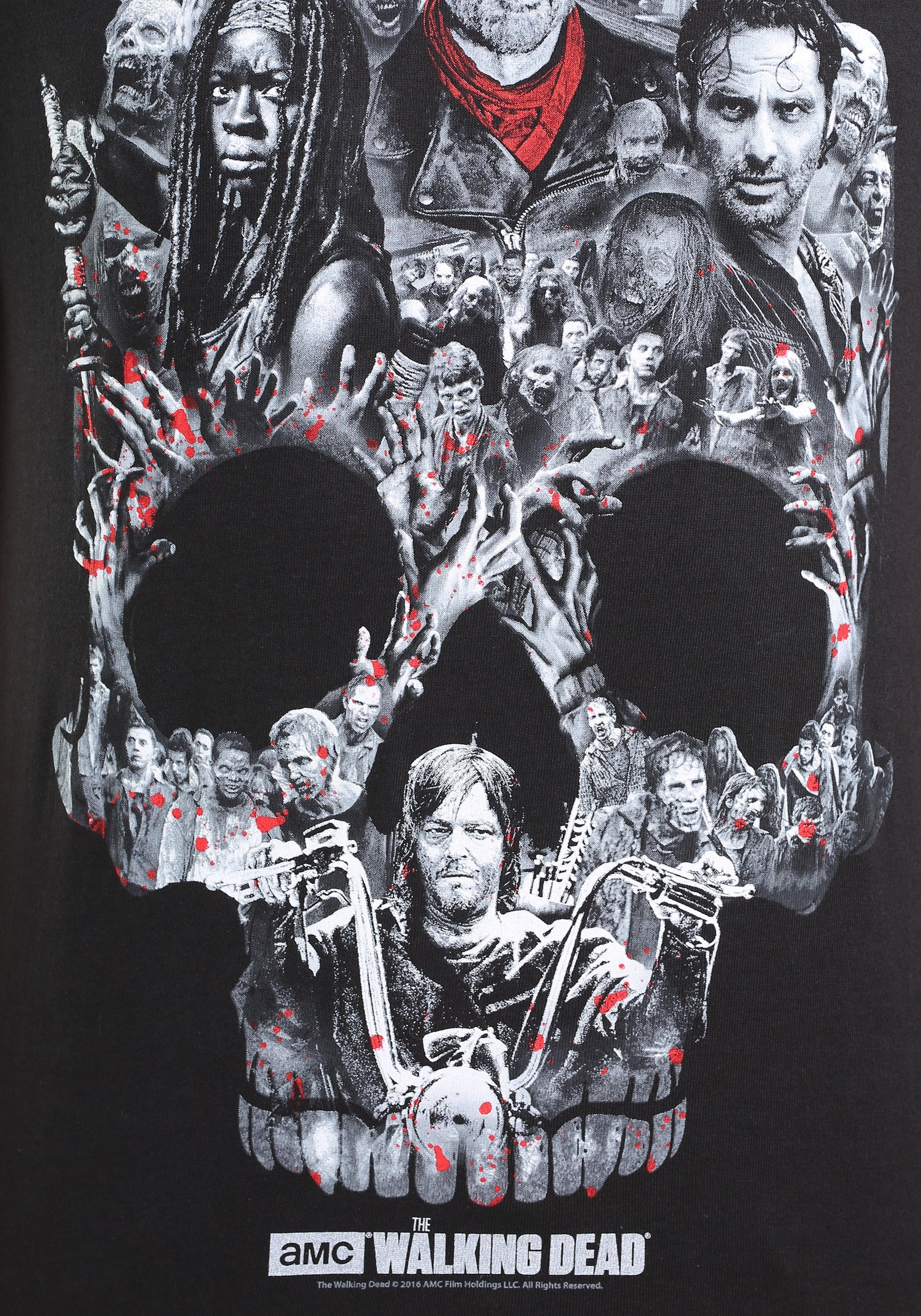 the walking dead skull montage t shirt