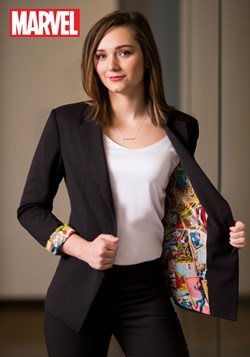 Marvel Women's Vintage Print One-Button Blazer