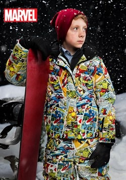 Kids Marvel Retro Comic Print Snowboard Jacket