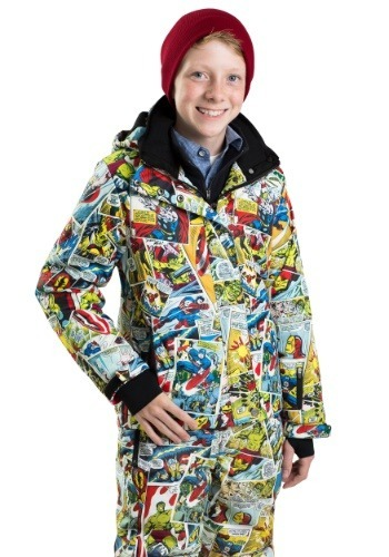 Kids Marvel Comic Print Superhero Snow Jacket