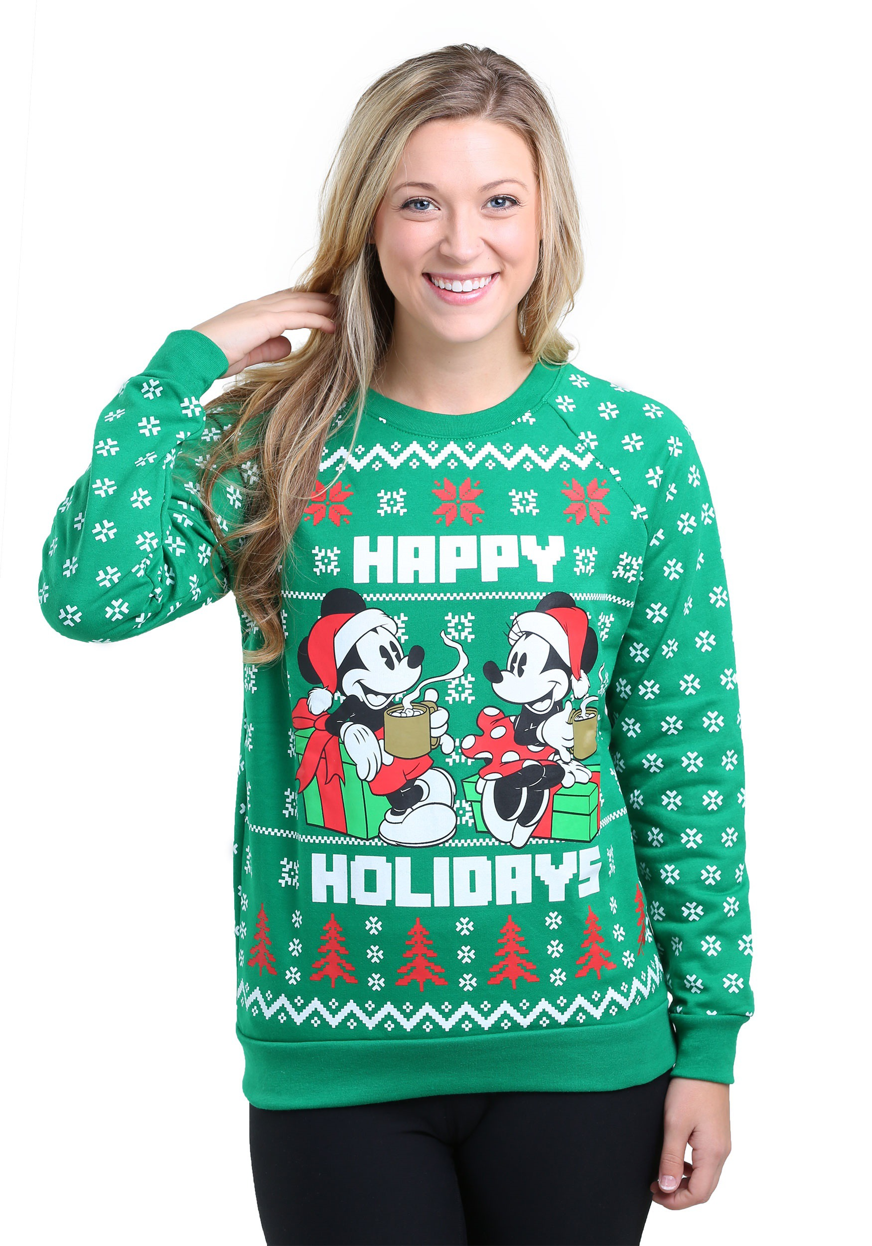 Mickey Mouse Happy Holidays Pullover Sweatshirt for Juniors FZMYSJS40