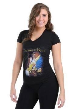 Beauty and the Beast Poster Juniors V-Neck Tee
