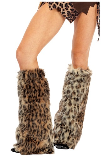 Women's Animal Print Furry Leg Warmers