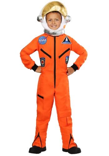 Kid's Orange Astronaut Jumpsuit Costume