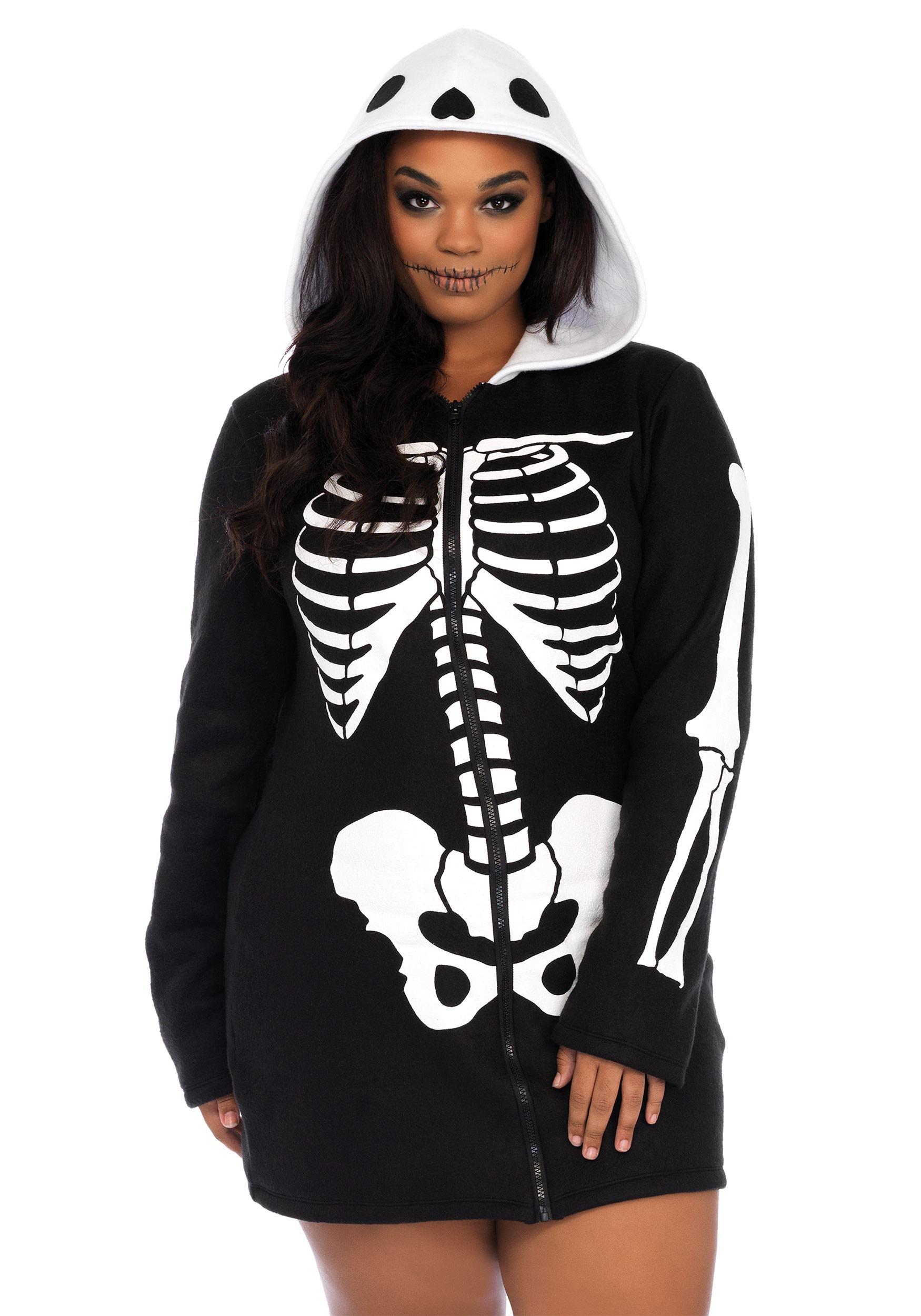 605bf17dc4b Women s Plus Size Cozy Skeleton Costume