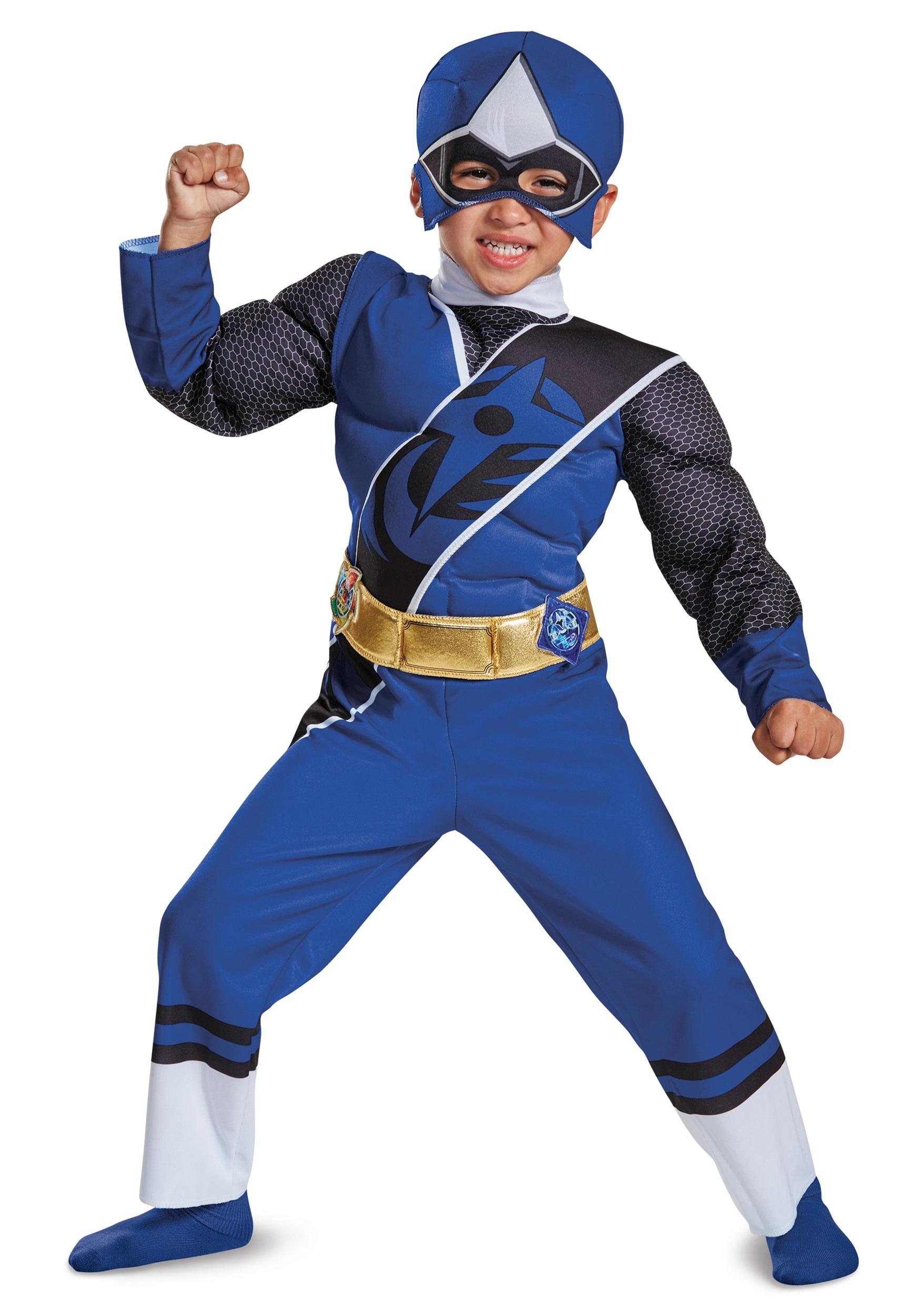Toddler Blue Ranger Ninja Steel Muscle Costume DI19838