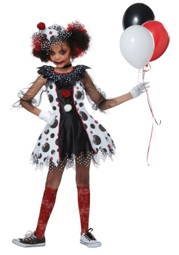 Girls Creepy Clown Costume