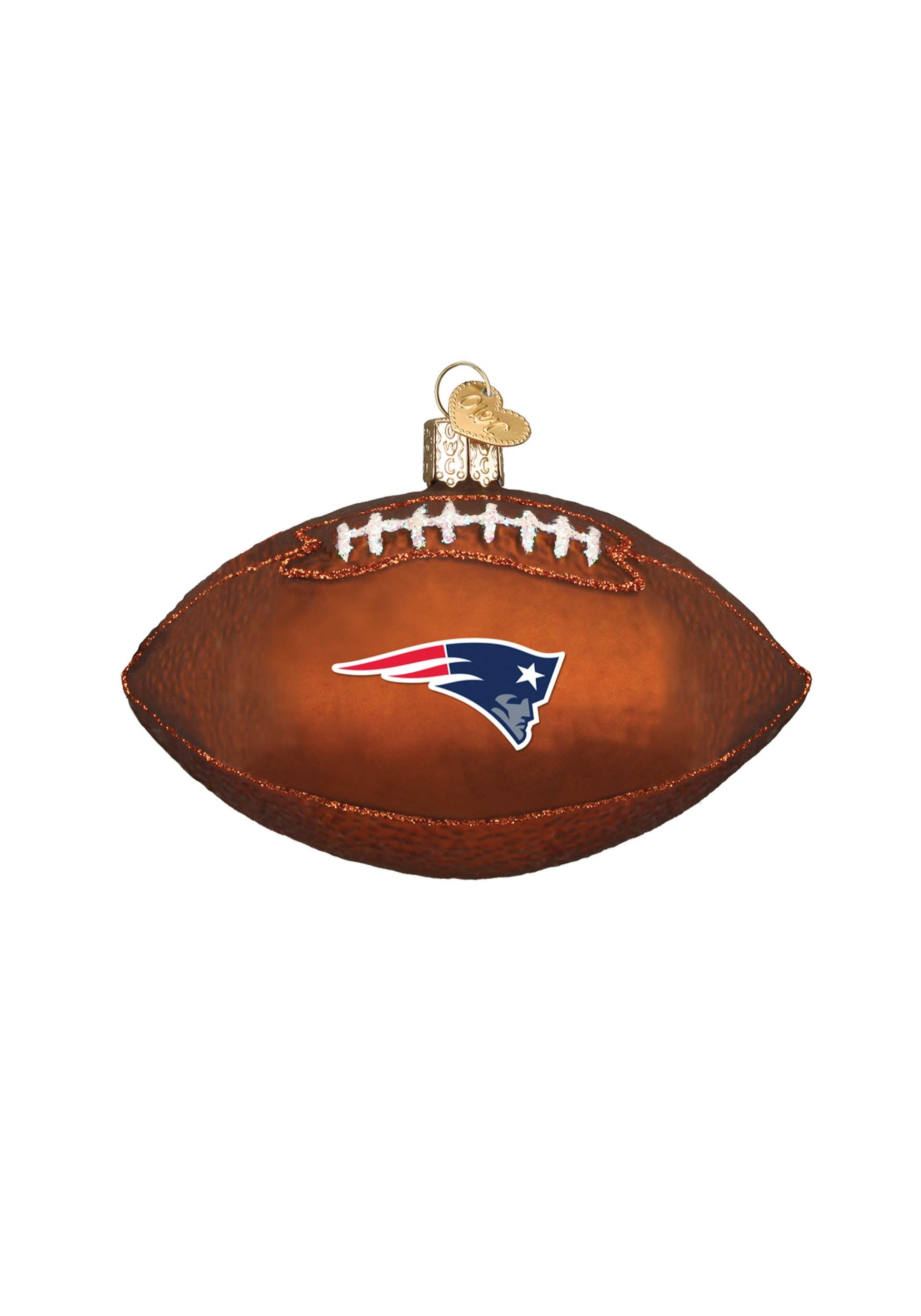 New England Patriots Glass Football Ornament OW72000