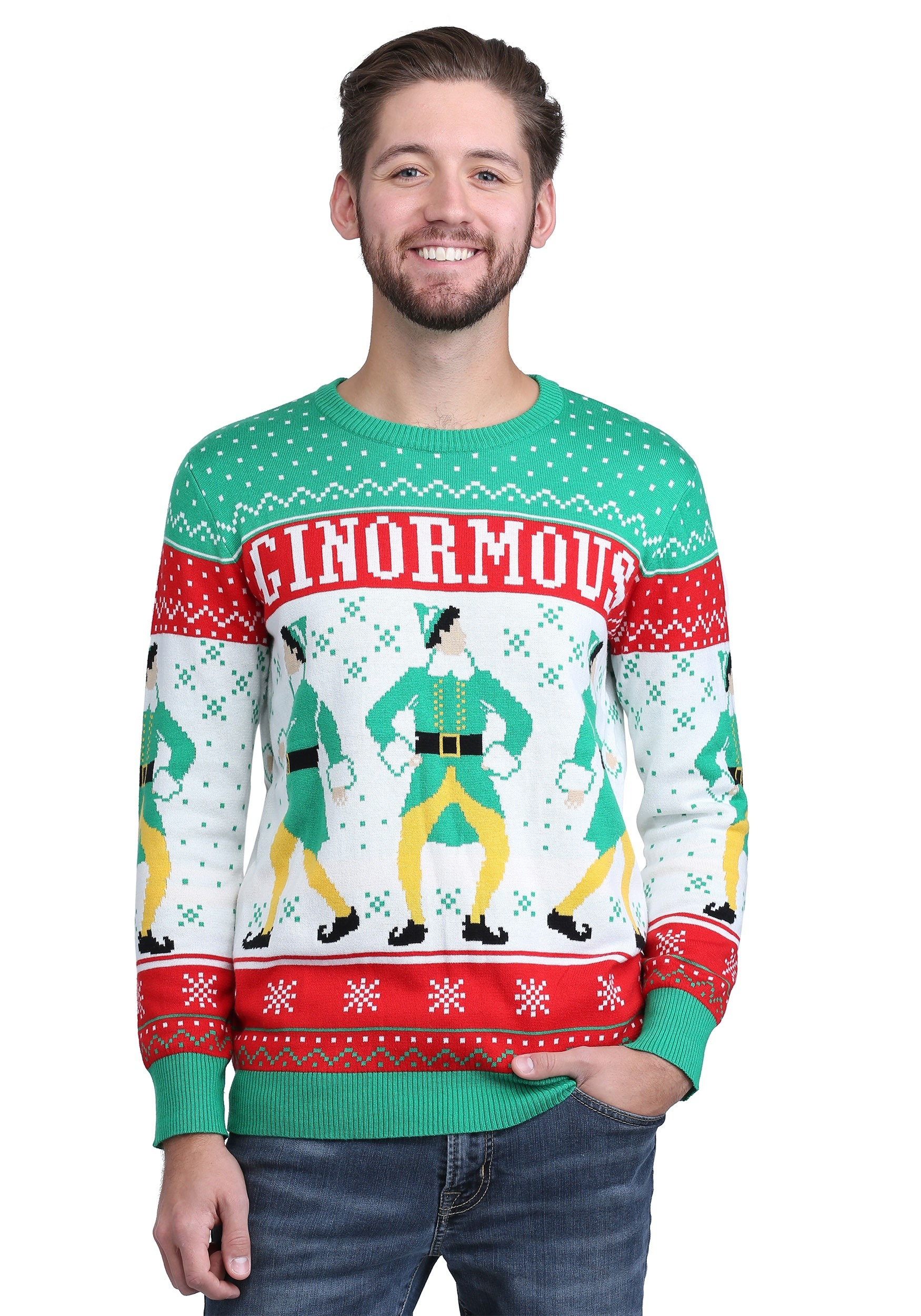 elf ginormous adult knit sweater - Buddy The Elf Christmas Sweater