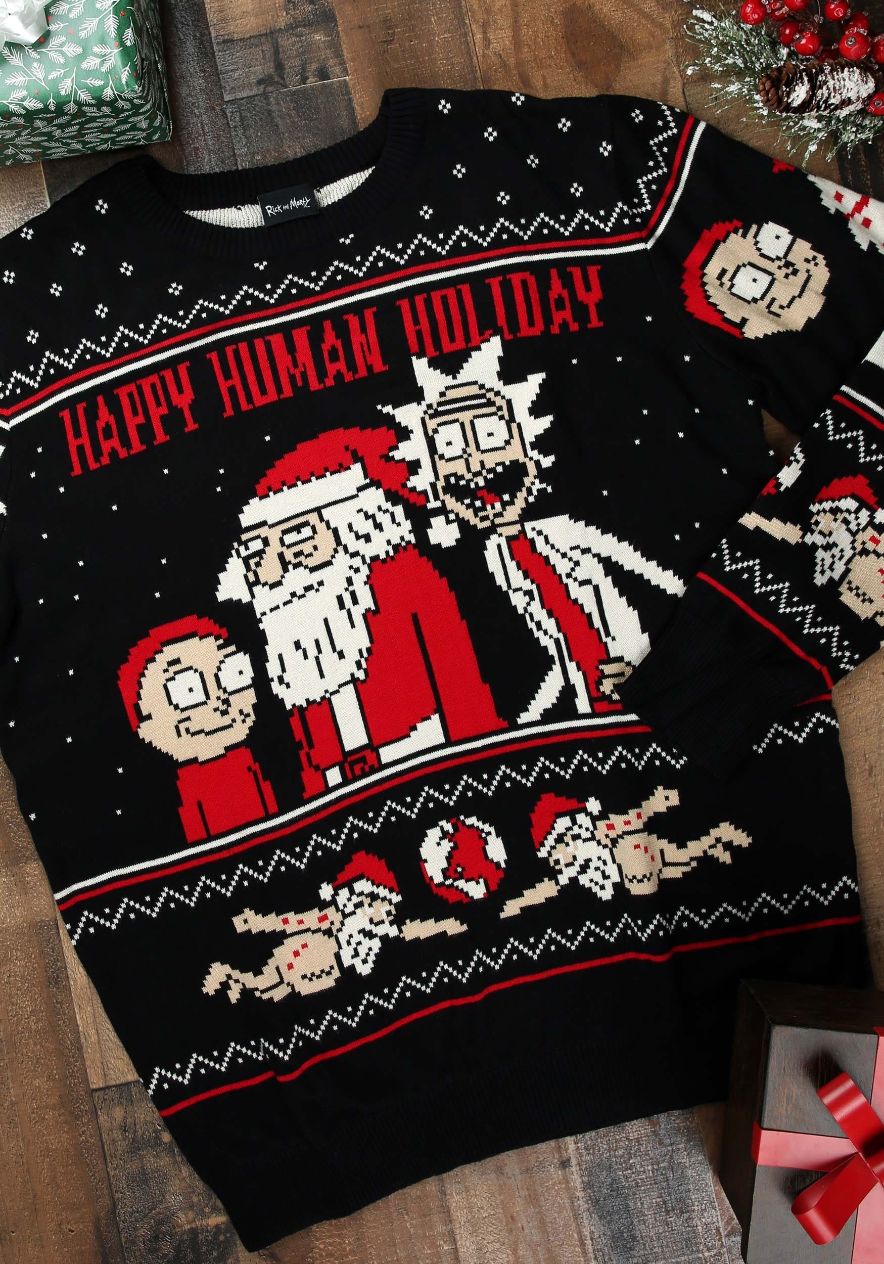 Rick And Morty Ugly Christmas Sweater.Rick And Morty Happy Human Adult Ugly Christmas Sweater