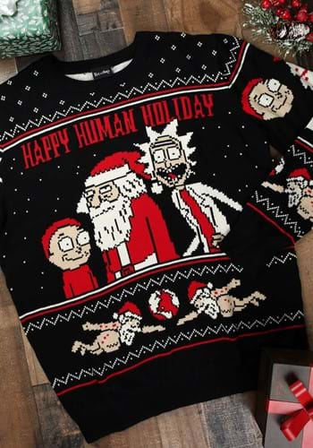 Rick and Morty Happy Human Holiday Adult Knit Sweater