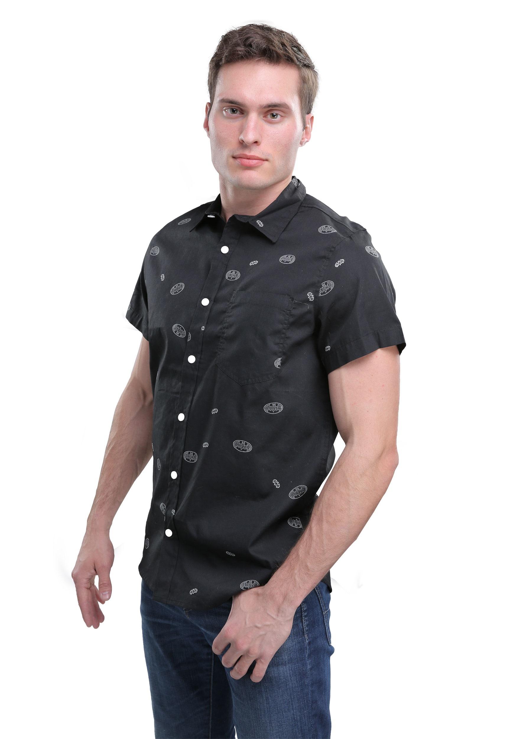 Dc comics batman woven button down shirt for men for Mens button down shirts