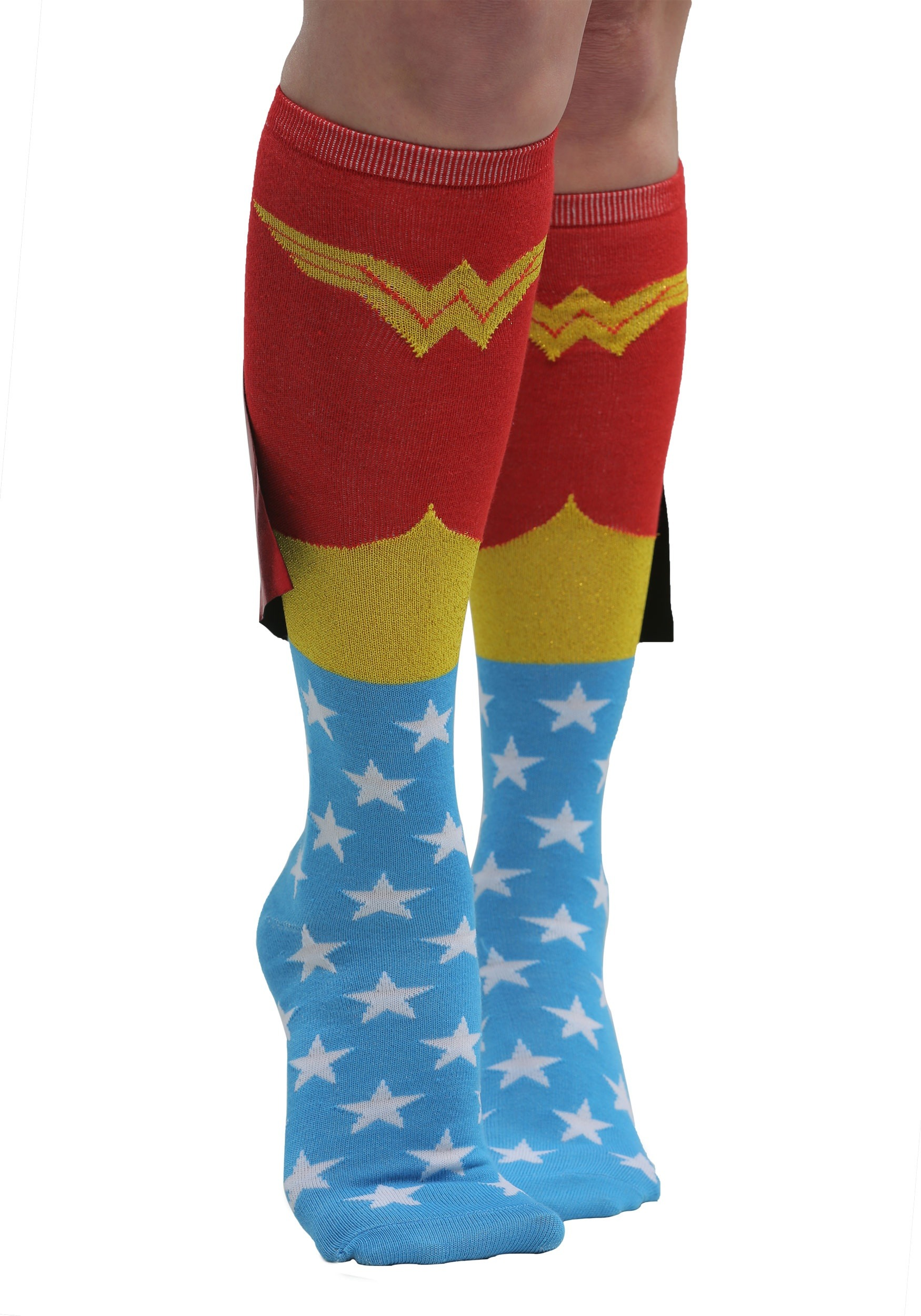 6bca2c3939e Women s Wonder Woman Knee High Shiny Caped Socks