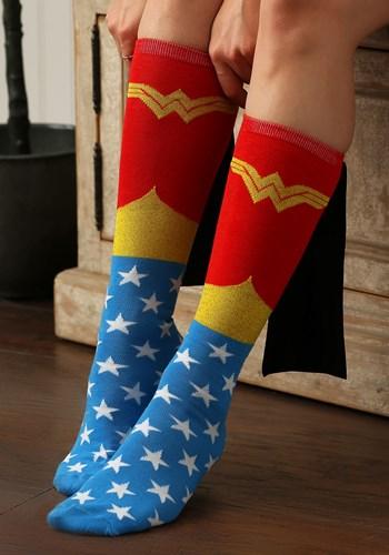 Wonder Woman Knee High Shiny Caped Socks Women Update
