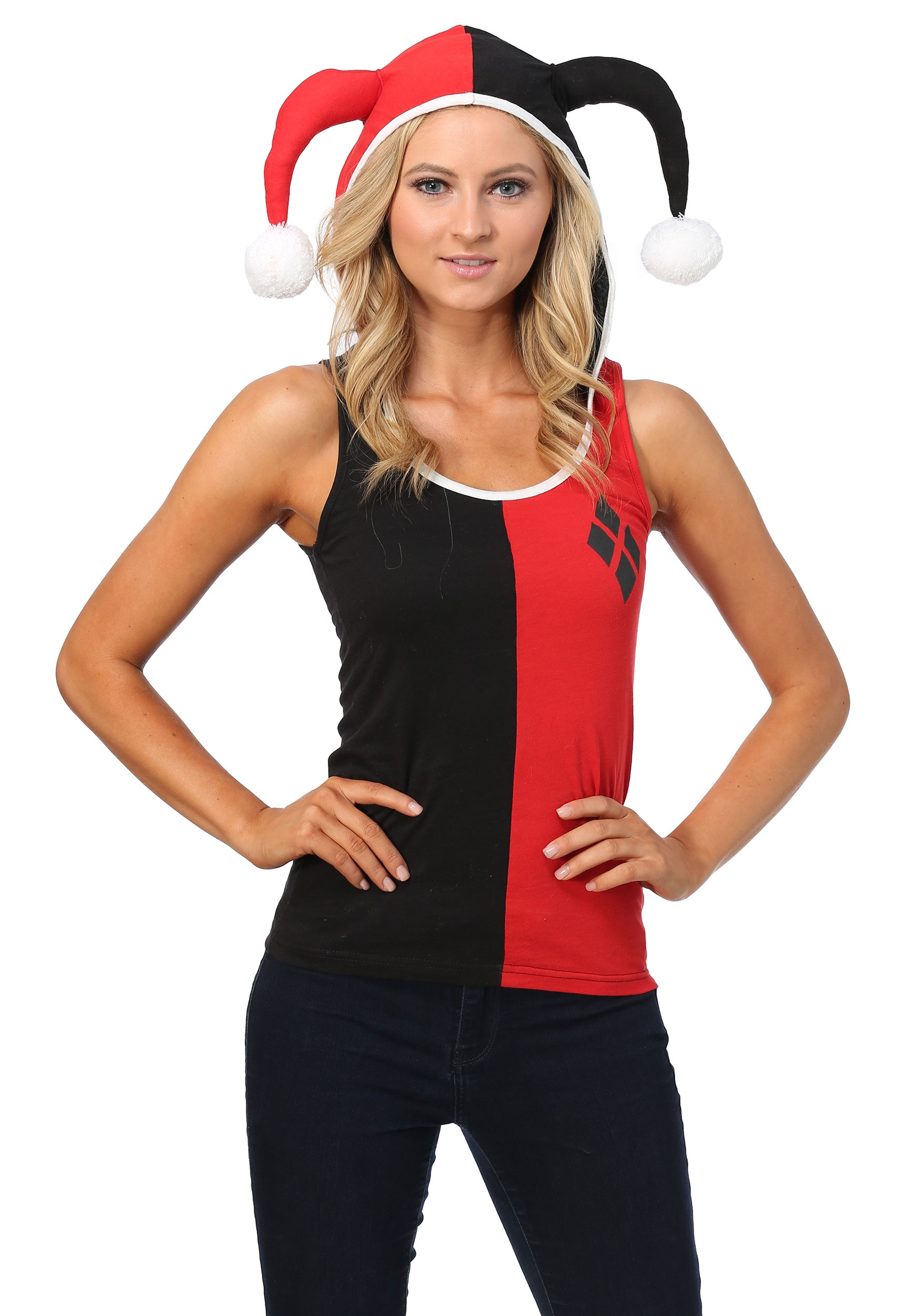 433915dfe36 Harley Quinn Hooded Tank with Jester Horns