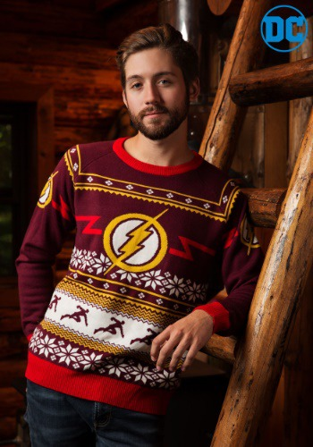 DC Comics Flash Logo Mens Ugly Christmas Sweater