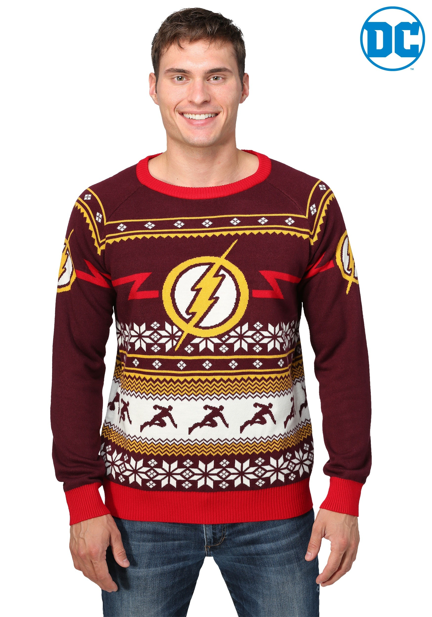 flash logo mens holiday sweater - Cheap Mens Ugly Christmas Sweater